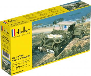Willys MB Jeep & Trailer · HE 79997 ·  Heller · 1:72