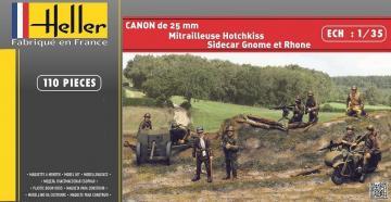 CANON DE 25mm+GNOME et RHONE+HOTCHKISS · HE 81102 ·  Heller · 1:35