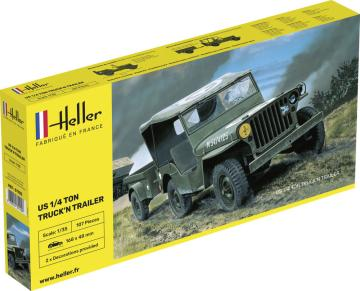 US 1/4 Ton Truck and Trailer · HE 81105 ·  Heller · 1:35