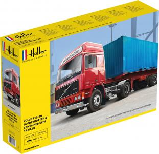 VOLVO F12-20 Globetrotter & Container semi trailer · HE 81702 ·  Heller · 1:32