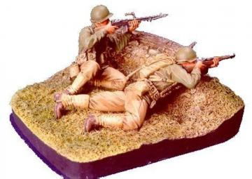 WWII U.S. Infantry(2) - 2 Figures w/base · HF 527 ·  Hobby Fan · 1:35