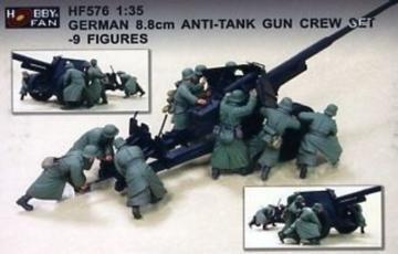 Germ. 8.8cm Anti-Tank Gun Crew Set (9Fig · HF 576 ·  Hobby Fan · 1:35