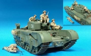 Brit. Inf. Riding w/Churchill Tank- 4Fig · HF 590 ·  Hobby Fan · 1:35