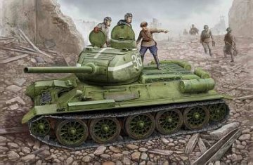 Russian T-34/85 (1944 flattened turret) tank · HBO 84807 ·  HobbyBoss · 1:48