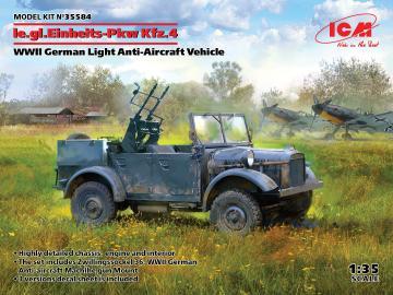le.gl.Einheitz-Pkw Kfz.4, WWII German Light Anti-Aircraft Vehicle · ICM 35584 ·  ICM · 1:35