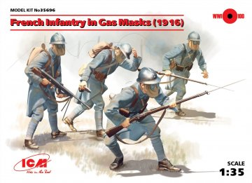 French Infantry in Gas Masks 1918 · ICM 35696 ·  ICM · 1:35