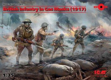 British Infantry in Gas Masks (1917) - 4 Figuren · ICM 35703 ·  ICM · 1:35