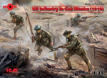US Infantry in Gas Masks (1918) - 4 Figuren · ICM 35704 ·  ICM · 1:35