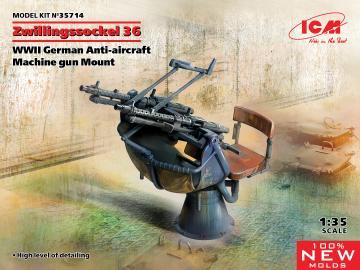 Zwillingssockel 36 - WWII German Anti-aircraft Machihe gun Mount · ICM 35714 ·  ICM · 1:35