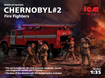 Chernobyl2. Fire Fighters (AC-40-137A firetruck & 4 figures & diorama base w. background) · ICM 35902 ·  ICM · 1:35
