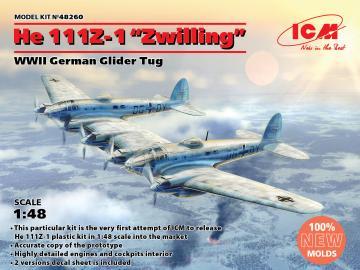 Heinkel He 111Z-1 Zwilling, WWII German Glider Tug · ICM 48260 ·  ICM · 1:48