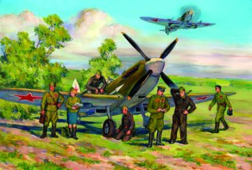 Spitfire LF.IXE with Soviet Pilots & Ground Personnel · ICM 48802 ·  ICM · 1:48