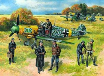 Messerschmitt Bf 109 F-2 with German Pilots/Ground Crew · ICM 48803 ·  ICM · 1:48