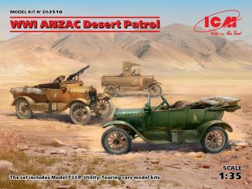 WWI ANZAC Desert Patrol (Model T LCP, Utility, Touring) · ICM DS3510 ·  ICM · 1:35