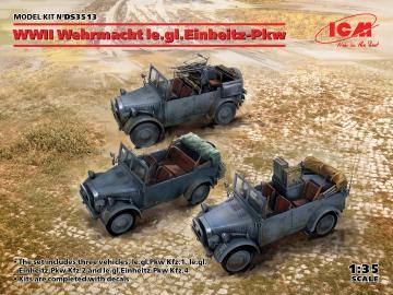 WWII Wehrmacht le.gl.Einheitz-Pkw (le.gl.PKWKfz.1, le.gl.Einheitz-Pkw Kfz.2, PkwKfz4) · ICM DS3513 ·  ICM · 1:35