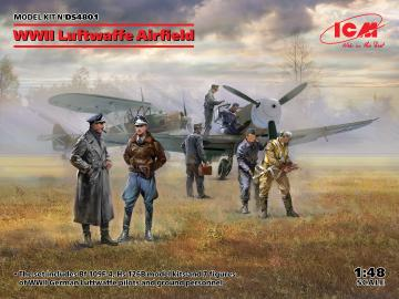 WWII Luftwaffe Airfield (MesserschmittBf109F-4,Hs126B-1,Pilot,Ground Pers(7 fig · ICM DS4801 ·  ICM · 1:48