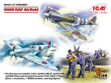 WWII RAF Airfield (Spitfire Mk.IX, Spitfire MkVII, RAF Pilots & Ground Pers (7 Figuren) · ICM DS4802 ·  ICM · 1:48