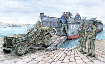 LCVP with 1/4 ton. Utility Truck & US Soldiers · IT 6479 ·  Italeri · 1:35