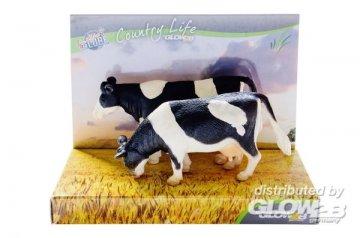 Kuh schwarz/weiss 2 Stück, stehend · KGCL 0565 ·  KidsGlobe Country Life · 1:32