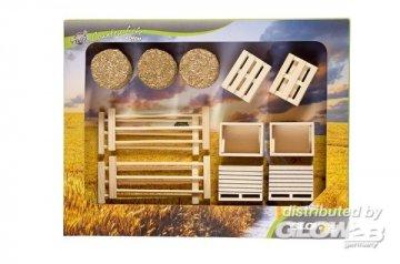 Set 17 Teile Kisten,Paletten,Stroh,Zäune · KGCL 0579 ·  KidsGlobe Country Life