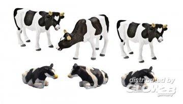 Kühe schwarz/bunt, 6 Stück · KGCL 0617 ·  KidsGlobe Country Life · 1:32