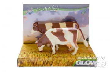 Kuh rot/bunt 2 Stück, stehend · KGCL 1000567 ·  KidsGlobe Country Life · 1:32