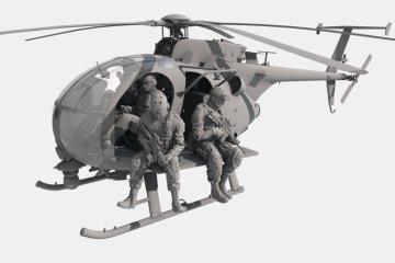 AH-6J/MH-6J Little Bird w/figures · KH 50004 ·  Kitty Hawk · 1:35