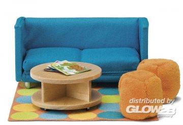 Smaland: Sofa mit Tisch und Sitzhockern · LUN 60205800 ·  Lundby · 1:18