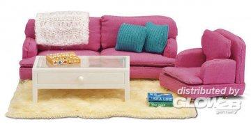 Smaland: Wohnzimmer pink mit Tisch · LUN 60206700 ·  Lundby · 1:18