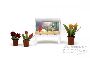 Smaland: Aquarium und 3 Blumentöpfe · LUN 60507200 ·  Lundby · 1:18