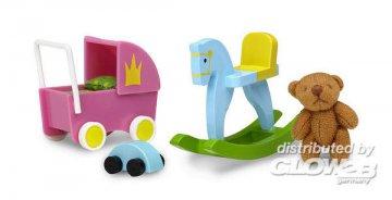 Smaland: Spielzeug-Set inkl. Puppenwagen, Teddy-Bär, Auto und Schaukelpfe · LUN 60507800 ·  Lundby · 1:18