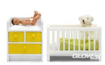 Stockholm: Baby mit Bett und Wickeltisch · LUN 60903100 ·  Lundby · 1:18
