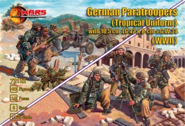 German Paratroopers (Tropical Uniform) with 10.5cm LG42&8cm s.G.W.34 · MRF 72123 ·  Mars Figures · 1:72