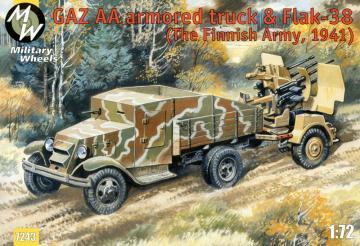 GAZ AA armored car truck & Flak-38, Fin · MW 7243 ·  Military Wheels · 1:72