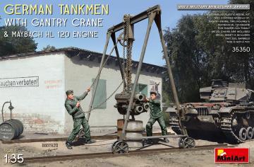 German Tankmen with Gantry Crane & Maybach HL 120 Engine · MA 35350 ·  Mini Art · 1:35