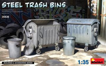 Steel Trash Bins · MA 35636 ·  Mini Art · 1:35