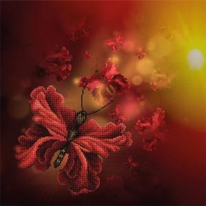 Blumen-Schmetterlinge, Perlenstickset · MAC 11014 ·  Miniart Crafts