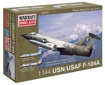 F-104A (2USAF marking/decal options) · MIN 14675 ·  Minicraft Model Kits · 1:144