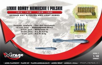 German WWI & Polish WWII Light Bombs German WWI & Polish WWII Light Aircraft Bombs 1914 · MG 248001 ·  Mirage Hobby · 1:48