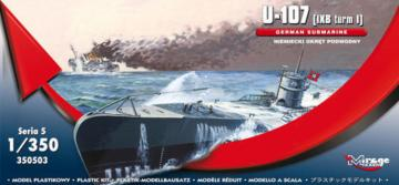 U-107 (IXB turm I) GERMAN SUBMARINE · MG 350503 ·  Mirage Hobby · 1:350