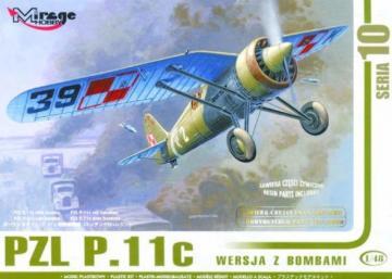 PZL P.11c mit Bomben, Resin- und Fotoätzteilen · MG 48102 ·  Mirage Hobby · 1:48