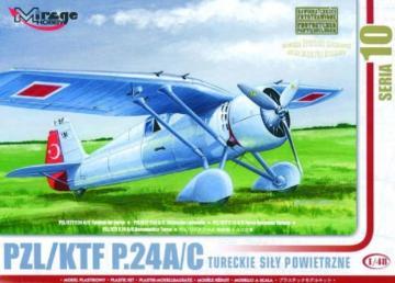 PZL/TFK P.24 C Türkische Luftwaffe mit Resin- und Fotoätzteilen · MG 48105 ·  Mirage Hobby · 1:48