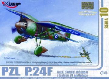 PZL P.24 F der griechischen Luftwaffe mit Resin- und Fotoätzteilen · MG 48107 ·  Mirage Hobby · 1:48