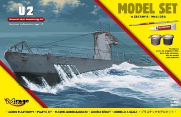 U2 (German Submarine WWII type IIA) (Model Set) · MG 840065 ·  Mirage Hobby · 1:400