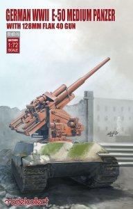 German WWII E-50 medium panzer w.128mm flak 40 gun · MOD UA72099 ·  Modelcollect · 1:72