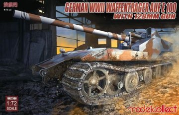 German WWII E-100 panzer weapon carrier with 128mm gun · MOD UA72108 ·  Modelcollect · 1:72