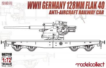 WWII Germany 128mm Flak 40 Anti-Aircraft Railway Car · MOD UA72118 ·  Modelcollect · 1:72