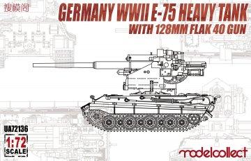 German WWII E-75 Heavy Tank with 128mm flak 40 gun · MOD UA72136 ·  Modelcollect · 1:72