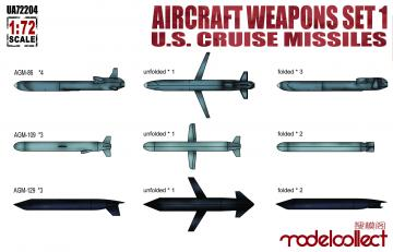 Aircraft weapons set1 U.S.cruise missile · MOD UA72204 ·  Modelcollect · 1:72
