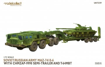 Soviet/Russian Army MAZ-7410-6 with ChMZAP-9990 semi-trailer and T-64 MBT · MOD UA72329 ·  Modelcollect · 1:72